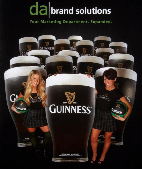 Guinness girls posing with pints of Guinness